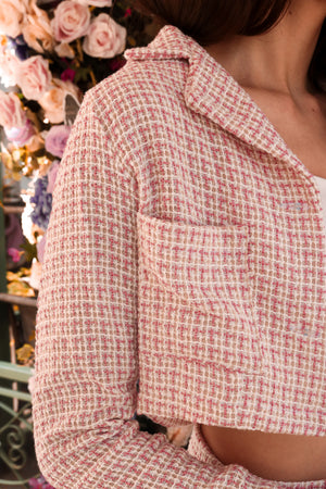 Load image into Gallery viewer, *PREMIUM* Jeanlia Tweed Jacket in Pink - Self Manufactured by LBRLABEL