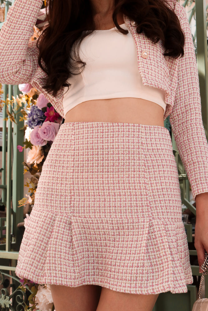 Load image into Gallery viewer, *PREMIUM* - Jeanlia Tweed Skirt in Pink - Self Manufactured by LBRLABEL