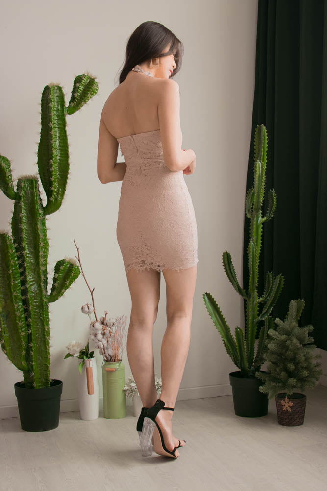 Load image into Gallery viewer, Ching Crochet Halter Dress in Nude