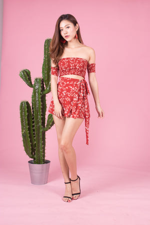 Luiea 2 Piece Floral Set in Red