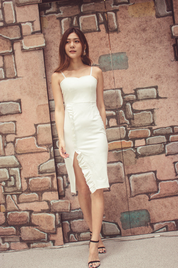 * PREMIUM* - Weelia Flutter Slit Cami Dress in White - LBRLABEL MANUFACTURED