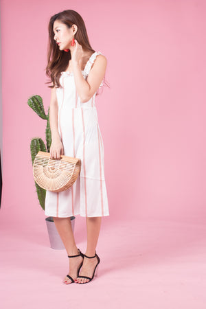 *LUXE* Arealia Stripes Flutter Dress in Pink