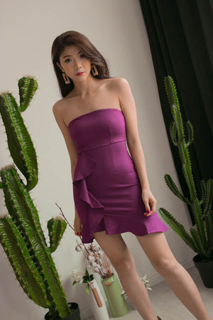 * PREMIUM * Dezelia Bustier Dress in Purple - Self Manufactured by LBRLABEL