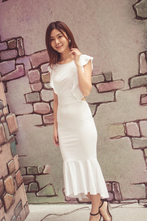 Load image into Gallery viewer, Dehala Flutter Dress in White