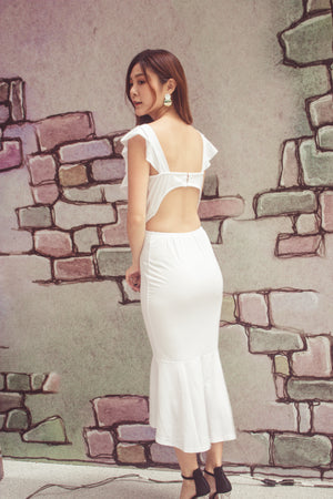 Dehala Flutter Dress in White