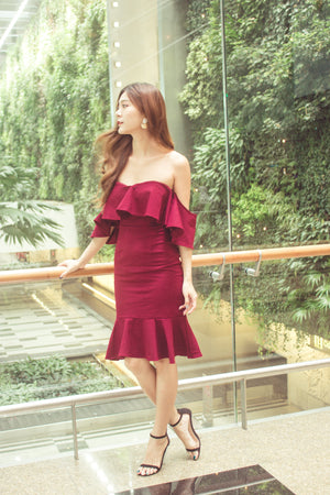 * PREMIUM* - Eleolia Bustier Offsie Dress in Burgundy - LBRLABEL MANUFACTURED
