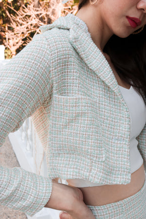 Load image into Gallery viewer, *PREMIUM* Jeanlia Tweed Jacket in Mint - Self Manufactured by LBRLABEL