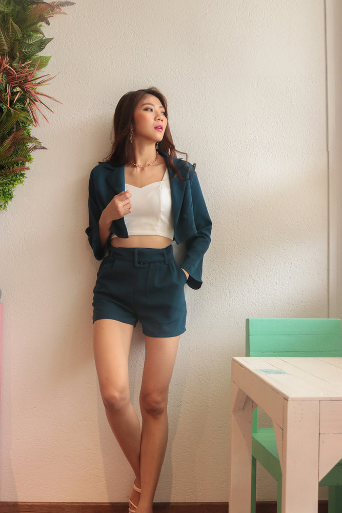 Load image into Gallery viewer, * PREMIUM * - Edelia Belted Highwaisted Shorts in Teal Navy - Self Manufactured by LBRLABEL