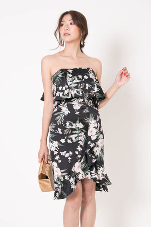 *PREMIUM* - Hathalia Floral Flutter Dress in Black - Self Manufactured by LBRLABEL
