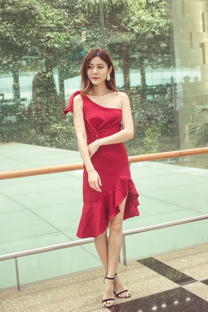 Load image into Gallery viewer, Tamalsa Toga Dress in Burgundy