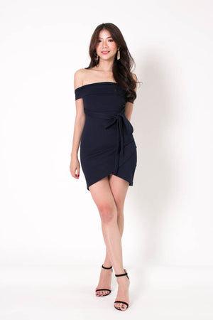 * PREMIUM * Taelia Off Shoulder Dress in Navy - Self Manufactured by LBRLABEL