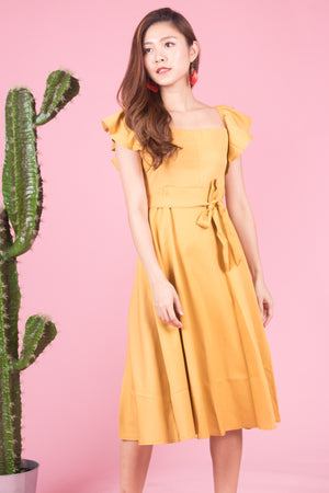 *LUXE* Sabrelle Two Ways Flutter Dress in Sunshine