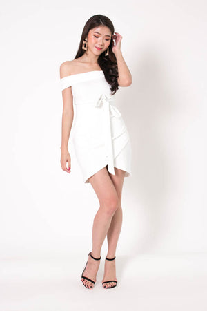 * PREMIUM * Taelia Off Shoulder Dress in White - Self Manufactured by LBRLABEL