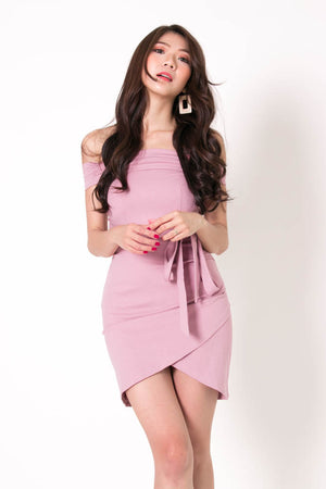 * PREMIUM * Taelia Off Shoulder Dress in Pink - Self Manufactured by LBRLABEL