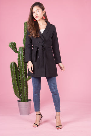 (BO) *LUXE* Joel Button Down Coat in Black