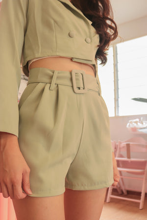 Load image into Gallery viewer, * PREMIUM * - Edelia Belted Highwaisted Shorts in Sage - Self Manufactured by LBRLABEL