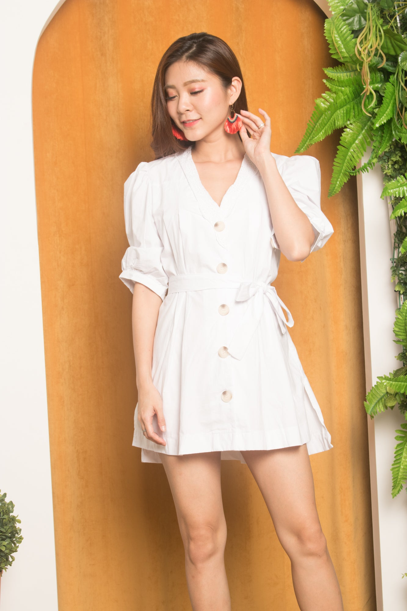 af81842a Meuara Button Down Tunic in White - LBRLABEL