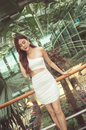 Tiffania Toga Bodycon Dress in White