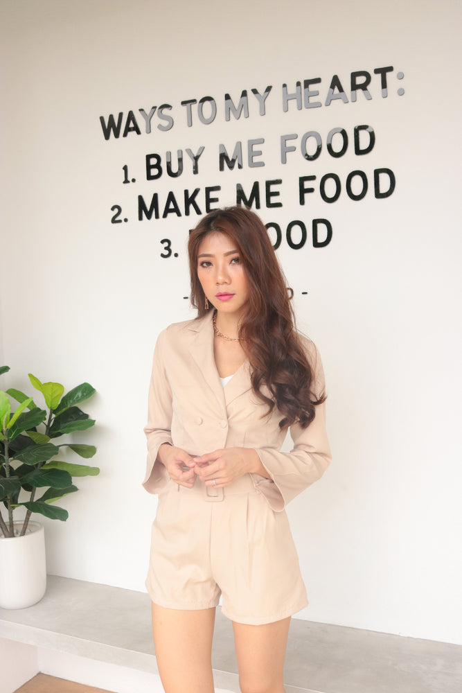 * PREMIUM * - Edelia Crop Blazer in Nude Khaki - Self Manufactured by LBRLABEL
