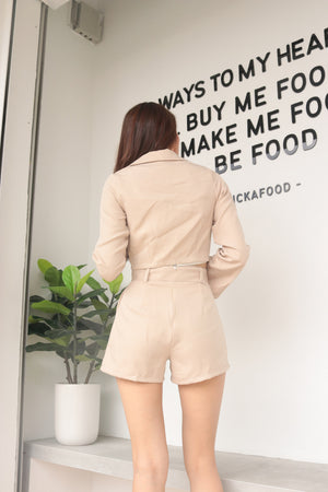 Load image into Gallery viewer, * PREMIUM * - Edelia Crop Blazer in Nude Khaki - Self Manufactured by LBRLABEL