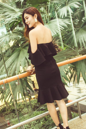 * PREMIUM* - Eleolia Bustier Offsie Dress in Black - LBRLABEL MANUFACTURED