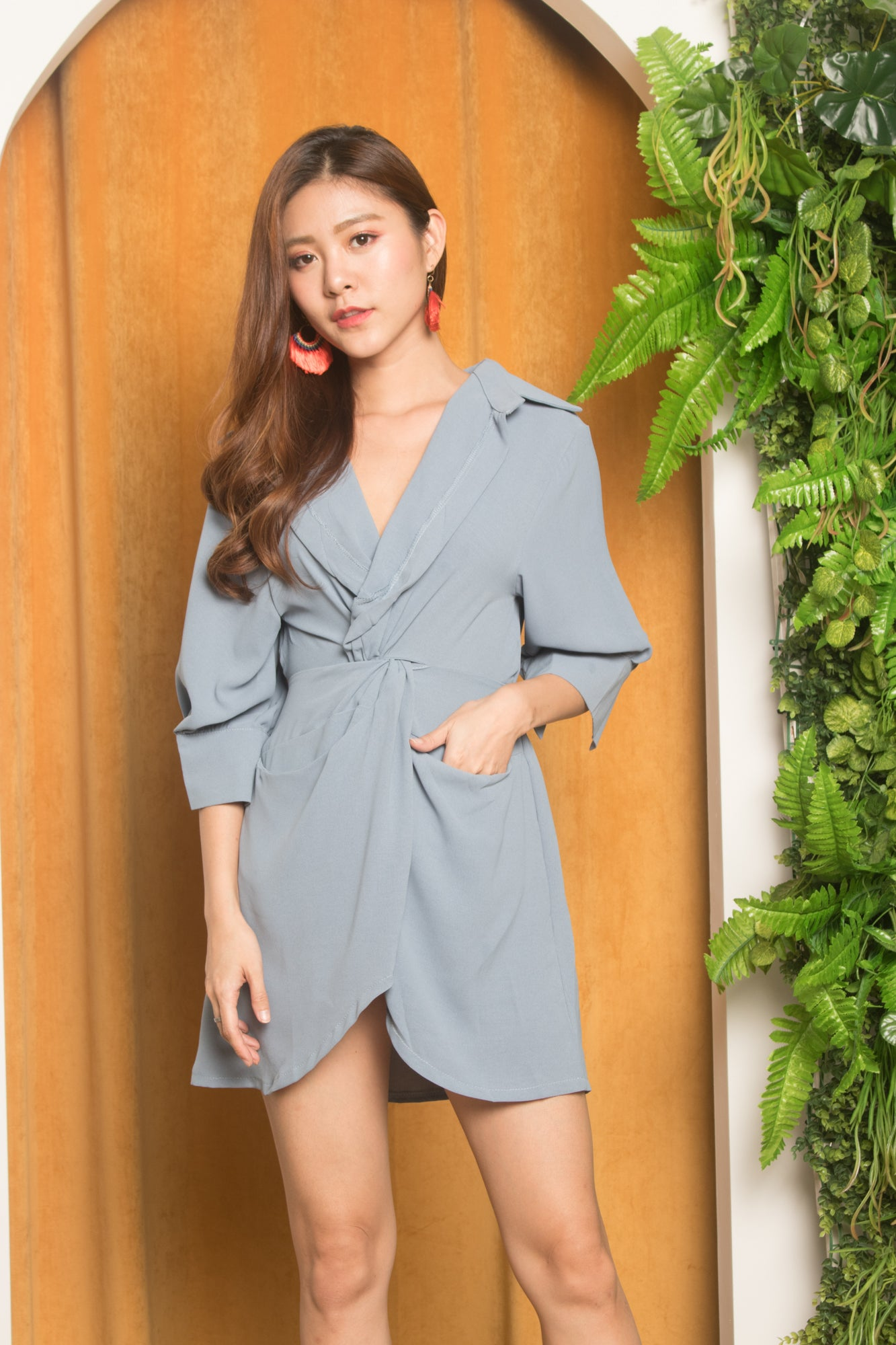 0a59b978 Refeh Button Down Tunic in Blue - LBRLABEL