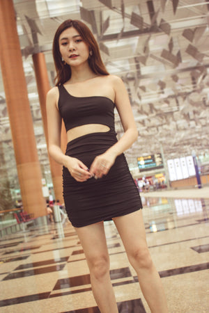 Tiffania Toga Bodycon Dress in Black