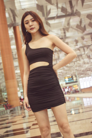 Load image into Gallery viewer, Tiffania Toga Bodycon Dress in Black