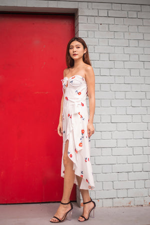 * LUXE * Millin Printed Cherry Dress in White