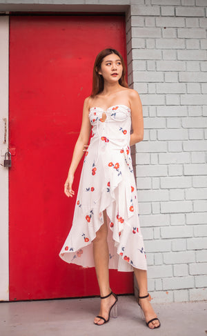 Load image into Gallery viewer, * LUXE * Millin Printed Cherry Dress in White