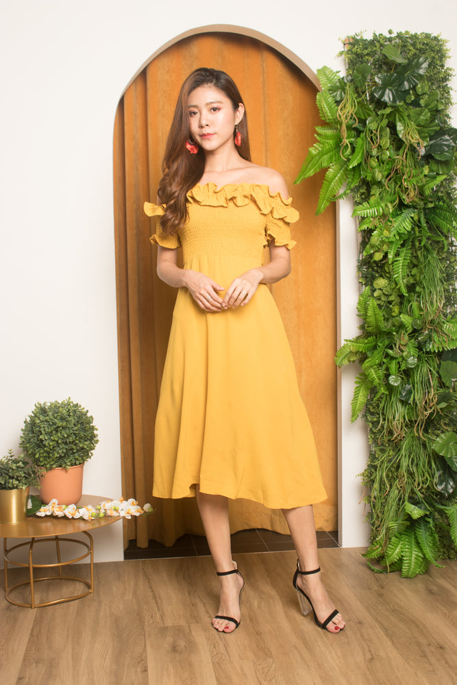 Jia Ruffled Off Shoulder Dress in Mustard