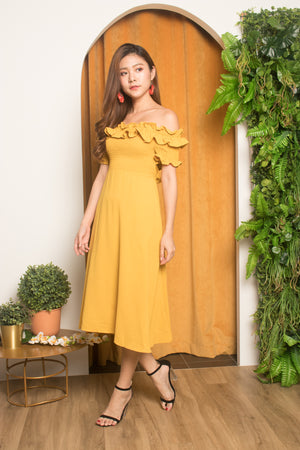 Load image into Gallery viewer, Jia Ruffled Off Shoulder Dress in Mustard