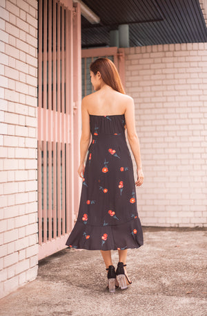 * LUXE * Millin Printed Cherry Dress in Black
