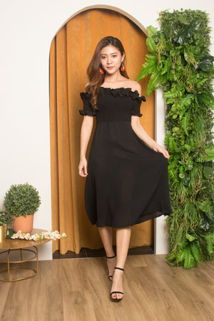 Jia Ruffled Off Shoulder Dress in Black