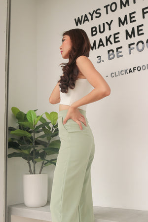 Load image into Gallery viewer, * PREMIUM * - Tinalia Straight Cut Highwaisted Pants in Sage - Self Manufactured by LBRLABEL