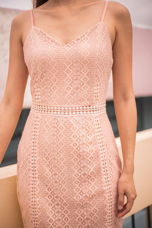 * PREMIUM * Selelia Crochet Dress in Pink - SELF MANUFACTURED BY LBRLABEL