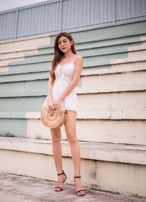 Aleecia Laces Crochet Romper in White