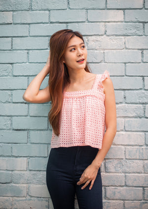 Violette Crochet Top In Pink