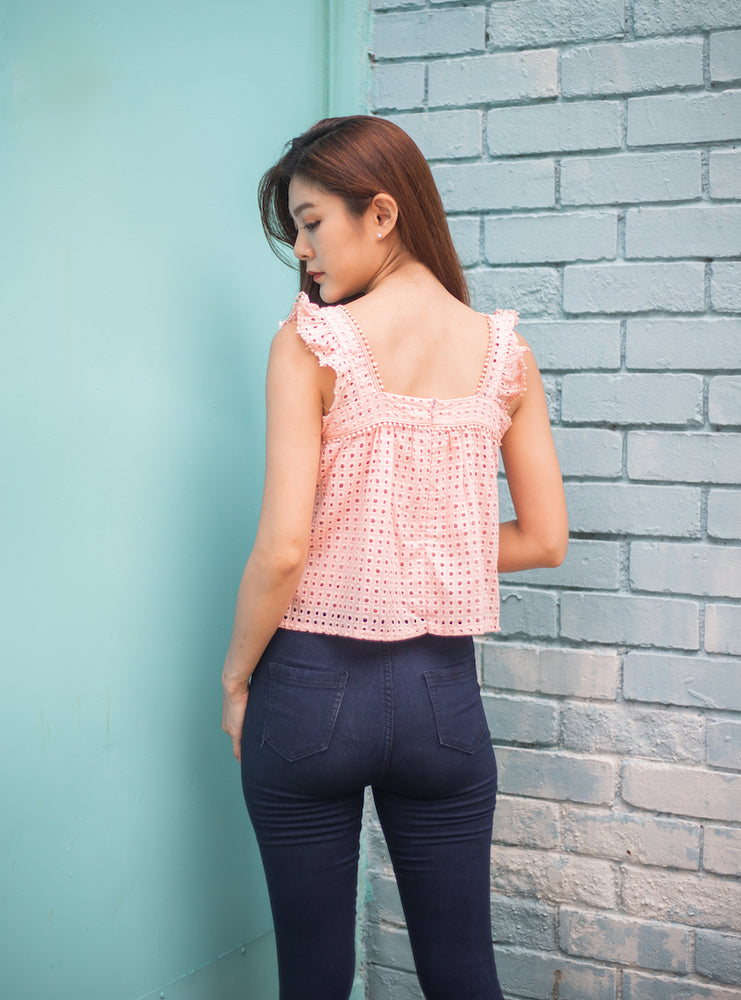 Load image into Gallery viewer, Violette Crochet Top In Pink