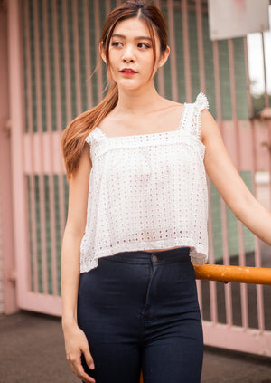Load image into Gallery viewer, Violette Crochet Top In White