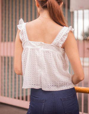 Violette Crochet Top In White