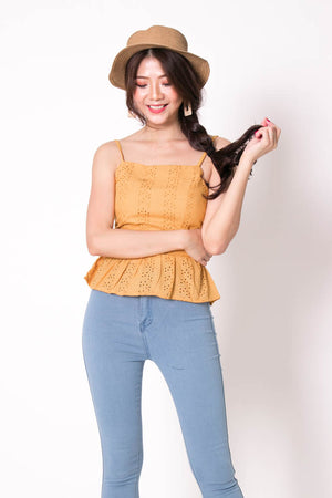 *PREMIUM* Cocolia Eyelet Top in Mustard - Self Manufactured by LBRLABEL