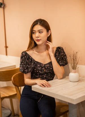 Jacey Floral Top in Black