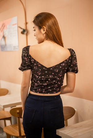 Load image into Gallery viewer, Jacey Floral Top in Black
