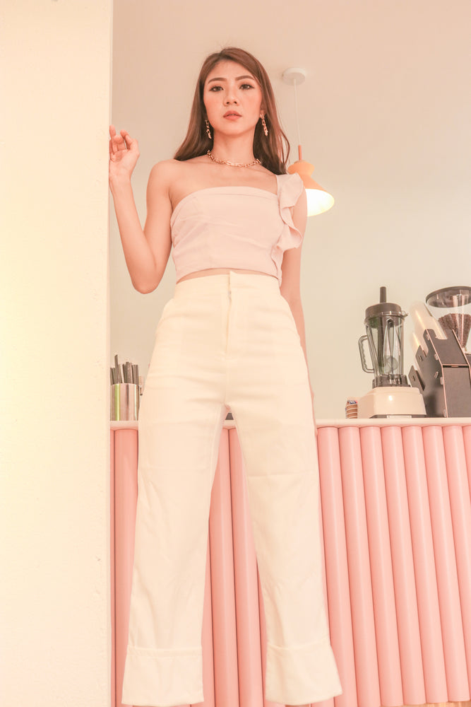 Load image into Gallery viewer, * PREMIUM * - Tinalia Straight Cut Highwaisted Pants in White - Self Manufactured by LBRLABEL