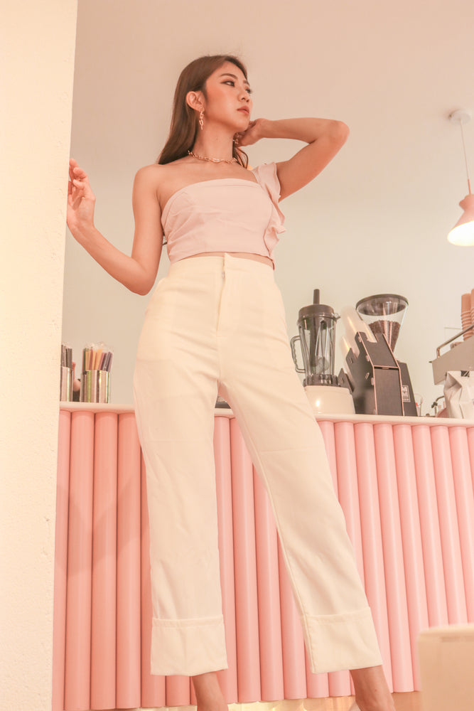 * PREMIUM * - Tinalia Straight Cut Highwaisted Pants in White - Self Manufactured by LBRLABEL