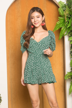 Ariemy Floral Romper in Green