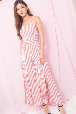 * PREMIUM* Ailia Stripes Jumpsuit in Redish Pink - SELF MANUFACTURED BY LBRLABEL