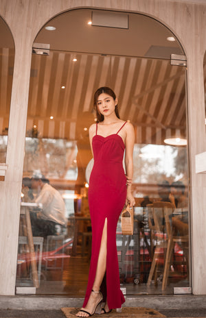 * LUXE * Dinxea Slit Gown Dress in Burgundy