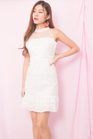 Winnie Mesh Crochet Dress in White